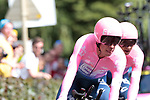 EF Education First including Rigoberto Uran (COL) in action during Stage 2 of the 2019 Tour de France a Team Time Trial running 27.6km from Bruxelles Palais Royal to Brussel Atomium, Belgium. 7th July 2019.<br /> Picture: Colin Flockton | Cyclefile<br /> All photos usage must carry mandatory copyright credit (© Cyclefile | Colin Flockton)