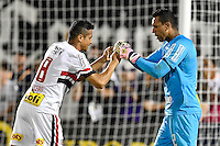 Orlando, FL - Saturday Jan. 21, 2017: São Paulo midfielder Cícero (8) celebrates his successful penalty shot with São Paulo goalkeeper Sidão (12) during the penalty shootout of the Florida Cup Championship match between São Paulo and Corinthians at Bright House Networks Stadium. The game ended 0-0 in regulation with São Paulo defeating Corinthians 4-3 on penalty kicks.