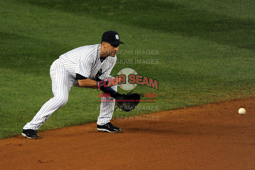 New York Yankees shortstop Derek Jeter #2 during ALDS game #5 against the Detroit Tigers at Yankee Stadium on October 06, 2011 in Bronx, NY.  Detroit defeated New York 3-2 to take the series 3 games to 2 games.  Tomasso DeRosa/Four Seam Images