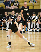 NWA Democrat-Gazette/ANDY SHUPE<br /> Bentonville's Maddie Breed digs the ball Tuesday, Sept. 10, 2019, during play against Van Buren in Tiger Arena in Bentonville. Visit nwadg.com/photos to see more photos from the match.
