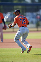 Houston Astros Anibal Sierra (78) during practice before a Minor League Spring Training Intrasquad game on March 28, 2018 at FITTEAM Ballpark of the Palm Beaches in West Palm Beach, Florida.  (Mike Janes/Four Seam Images)