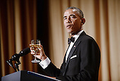 United States President Barack Obama offers a toast at the annual White House Correspondent's Association Gala at the Washington Hilton hotel April 25, 2015 in Washington, D.C. The dinner is an annual event attended by journalists, politicians and celebrities.<br /> Credit: Olivier Douliery / Pool via CNP