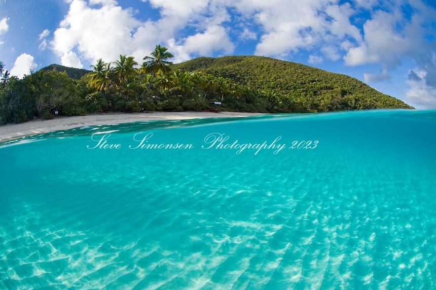 Split level view of Trunk Bay.Virgin Islands National Park.St. John.U.s. Virgin Islands