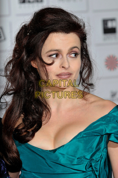 HELENA BONHAM CARTER .attending the Moet British Independent Film Awards at Old Billingsgate Market, London, England, UK,.December 5th, 2010..portrait headshot green teal off the shoulders cleavage silk.CAP/PL.©Phil Loftus/Capital Pictures.