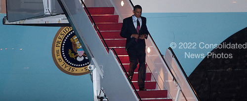 United States President Barack Obama departs Air Force One at Andrews Air Force Base in Maryland on Thursday, May 13, 2010. .Credit: Joshua Roberts - Pool via CNP