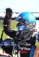 May 13, 2016; Commerce, GA, USA; NHRA top fuel driver Clay Millican during qualifying for the Southern Nationals at Atlanta Dragway. Mandatory Credit: Mark J. Rebilas-USA TODAY Sports