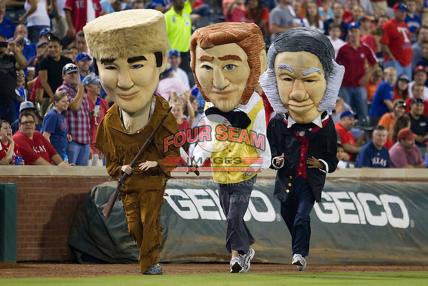 Texas Rangers Legends race during the Major League Baseball game against the Baltimore Orioles on August 21st, 2012 at the Rangers Ballpark in Arlington, Texas. The Orioles defeated the Rangers 5-3. (Andrew Woolley/Four Seam Images).