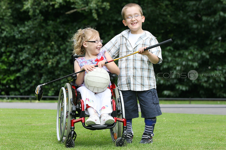 NO REPRO FEE 9/8/2010. SBHI Golf Classic. Pictured at the launch of the SBHI Golf Classic are John Thomas Cambell and Brooklyn Kerley both from Dundalk and aged 7. The Golf Classic will take place at Palmerstown House Estate, at Johnstown, County Kildare on Friday, 27th of August with Irish sporting legend Packie Bonner.  All proceeds will go to SBHI  Picture James Horan/Collins