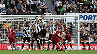 Liverpool's Philippe Coutinho hits the Newcastle United wall with his free-kick attempt <br /> <br /> Photographer Rich Linley/CameraSport<br /> <br /> The Premier League -  Newcastle United v Liverpool - Sunday 1st October 2017 - St James' Park - Newcastle<br /> <br /> World Copyright &copy; 2017 CameraSport. All rights reserved. 43 Linden Ave. Countesthorpe. Leicester. England. LE8 5PG - Tel: +44 (0) 116 277 4147 - admin@camerasport.com - www.camerasport.com