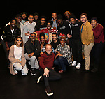 "Des McAnuff, James Harkness, Derrick Baskin, Jeremy Pope, E. Clayton Cornelious, Jawan M. Jackson and Ephraim Sykes with cast during the Legacy Robe honoring E. Clayton Cornelious for ""Ain't Too Proud"" at the Imperial Theatre on 3/20/2019 in New York City."