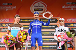 Julian Alaphilippe (FRA) Deceuninck-Quick Step wins with Oliver Naesen (BEL) AG2R La Mondiale 2nd and Michal Kwiatkowski (POL) Team Sky in 3rd place on the podium at the end of the 110th edition of Milan-San Remo 2019 running 291km from Milan to San Remo, Italy. 23rd March 2019.<br /> Picture: LaPresse/Gian Matteo D'Alberto | Cyclefile<br /> <br /> <br /> All photos usage must carry mandatory copyright credit (&copy; Cyclefile | LaPresse/Gian Matteo D'Alberto)