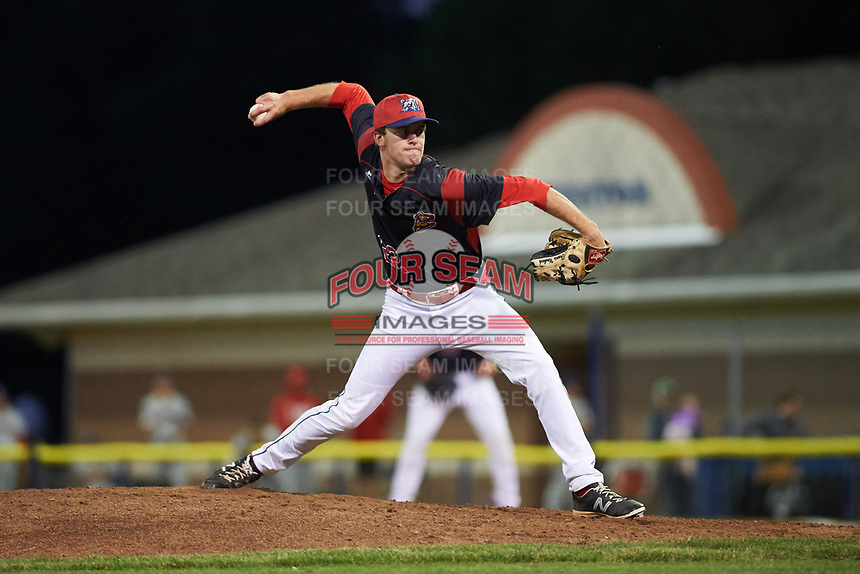 Batavia Muckdogs relief pitcher Travis Neubeck (22) delivers a pitch during a game against the Auburn Doubledays on July 4, 2017 at Dwyer Stadium in Batavia, New York.  Batavia defeated Auburn 3-2.  (Mike Janes/Four Seam Images)