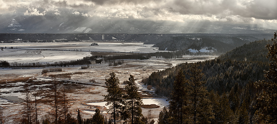 A calm winter panorama of the Kootenai Wildlife Refuge is seen in Bonner County, Idaho.