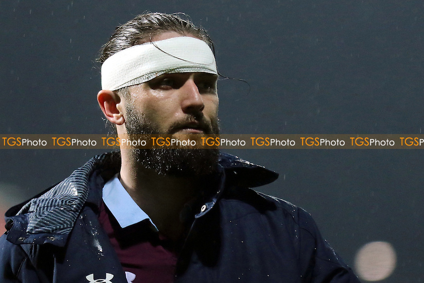 Aston Villa's Henri Lansbury, a recent signing from Nottingham Forest, wore a head bandage in the second half after being treated for a head injury during Brentford vs Aston Villa, Sky Bet EFL Championship Football at Griffin Park on 31st January 2017