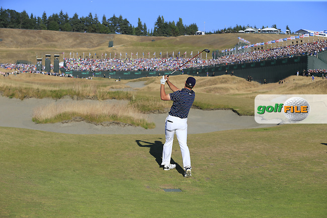 Jordan Speith (USA) plays his 2nd shot on the 18th hole during Sunday's Final Round of the 2015 U.S. Open 115th National Championship held at Chambers Bay, Seattle, Washington, USA. 6/22/2015.<br /> Picture: Golffile | Eoin Clarke<br /> <br /> <br /> <br /> <br /> All photo usage must carry mandatory copyright credit (&copy; Golffile | Eoin Clarke)