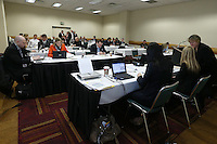 INDIANAPOLIS, IN - January 18, 2013: The draft room during the third round of the draft. The National Women's Soccer League held its college draft at the Indiana Convention Center in Indianapolis, Indiana during the NSCAA Annual Convention.