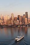 Seattle, Aerial, Central Business District, Port of Seattle, Washington State ferry, Elliott Bay, Puget Sound, Washington State, Pacific Northwest,