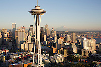 Space Needle skyline aerial, Seattle, WA with Mt. Rainier