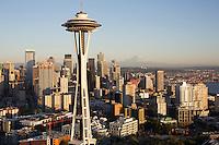 Space Needle skyline aerial, Seattle, WA with Mt. Rainier