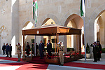 Palestinian President Mahmoud Abbas and Jordanian King Abdullah II review the honor guards, in Amman, Jordan, on October 22, 2017. Photo by Osama Falah