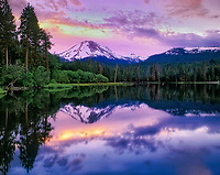 Manzanita Lake with Mt. Lassen at sunset. Mt. Lassen National Park, California