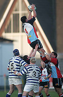 Harlequins second row Gareth Rourke claims this lineout ball during the First Trust Senior Cup Final at Ravenhill. Result - Dungannon 27pts Harlequins 10pts.