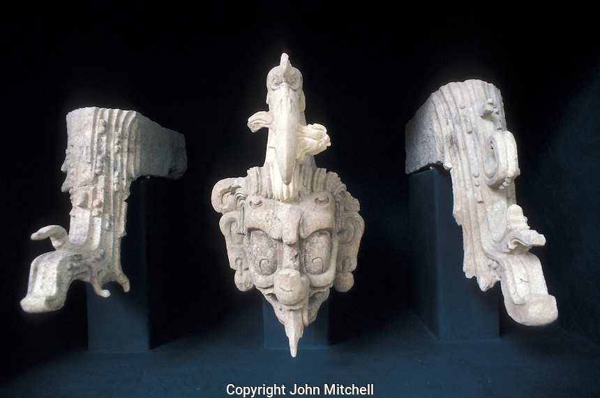 Maya waterbird and streams sculpture,  Copan Sculpture Museum, Copan, Honduras
