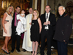 Baby Chloe Crimmins Clawson with parents Chris and Charlotte, Godparents Tom Grant and Eva James, Fr Martin Kenny who performed the cermony and Fr Joe from Dominican church Drogheda pictured at her baptism in St Peters church. Photo:Colin Bell/pressphotos.ie