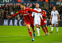 29th November 2019; Liberty Stadium, Swansea, Glamorgan, Wales; English Football League Championship, Swansea City versus Fulham; Aleksandar Mitrovic of Fulham celebrates after scoring his sides goal in the 22nd minute for 0-1  - Strictly Editorial Use Only. No use with unauthorized audio, video, data, fixture lists, club/league logos or 'live' services. Online in-match use limited to 120 images, no video emulation. No use in betting, games or single club/league/player publications