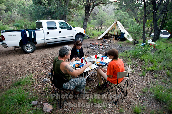 Car camping off Gardner Canyon Road near Mt. Wrightson in the Coronado National Forest in Arizona, USA, July 27 and 28, 2009. With a small creek, hiking trails, and seclusion from other campers this location seems more like back country then car camping...PHOTOS/ MATT NAGER
