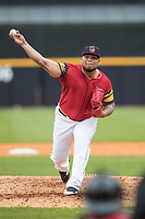 Toledo Mud Hens pitcher Bruce Rondon (37) delivers a pitch to the plate against the Lehigh Valley IronPigs during the International League baseball game on April 30, 2017 at Fifth Third Field in Toledo, Ohio. Toledo defeated Lehigh Valley 6-4. (Andrew Woolley/Four Seam Images)