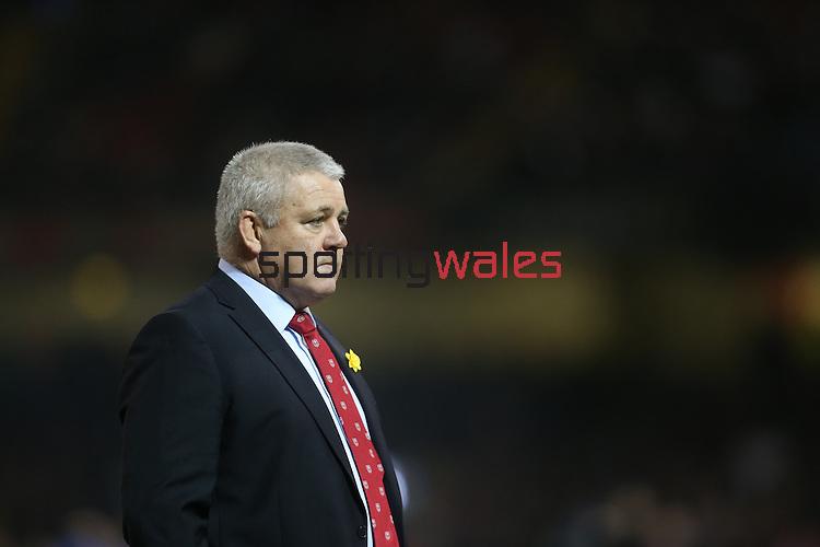 Wales head coach Warren Gatland<br /> RBS 6 Nations 2014<br /> Wales v France<br /> Millennium Stadium<br /> 21.02.14<br /> <br /> ©Steve Pope-SPORTINGWALES