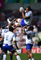 Filo Paulo of Samoa claims the ball in the air. Rugby World Cup Pool B match between Samoa and the USA on September 20, 2015 at the Brighton Community Stadium in Brighton, England. Photo by: Patrick Khachfe / Onside Images