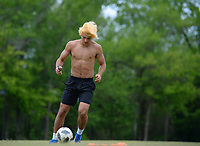 Skyler Marley of Fayetteville practices his footwork Thursday, May 14, 2020, while working out in Walker Park in Fayetteville. Marley plays soccer for the Arkansas Comets and Fayetteville High School. Visit nwaonline.com/200515Daily/ for today's photo gallery.<br /> (NWA Democrat-Gazette/Andy Shupe)