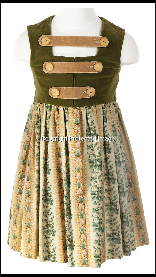 BNPS.co.uk (01202) 558833<br /> Picture: ProfilesInHistory/BNPS<br /> <br /> ****Please use full byline****<br /> <br /> Von Trapp childrens costume worn in the Do-Re-Mi village sequence.<br /> <br /> A set of iconic costumes worn by singing family the Von Trapps in hit film The Sound of Music has emerged for sale for £150,000.<br /> <br /> The collection includes 14 outfits from the celebrated 1965 musical which starred Brit Julie Andrews as a nun who teaches the children of a widowed Navy officer to sing.<br /> <br /> The highlight of the set is a uniform worn by Christopher Plummer as Captain Georg Von Trapp in famed songs 'So Long, Farewell' and 'Edelweiss'.<br /> <br /> Also included are five of the seven Von Trapp children's outfits from the same numbers and two capes worn by the children in 'Climb Ev'ry Mountain'.