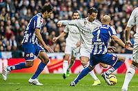 Real Madrid´s Cristiano Ronaldo and Deportivo de la Coruna's Celso Borges and Manuel Pablo during 2014-15 La Liga match between Real Madrid and Deportivo de la Coruna at Santiago Bernabeu stadium in Madrid, Spain. February 14, 2015. (ALTERPHOTOS/Luis Fernandez) /NORTEphoto.com