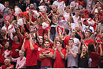 07 MAY: Ohio State University fans cheer on their Buckeyes against Brigham Young University during the Division I Men's Volleyball Championship held at Rec Hall on the Penn State University campus in University Park, PA. Ohio State defeated BYU 3-1 for the national title. Ben Solomon/NCAA Photos