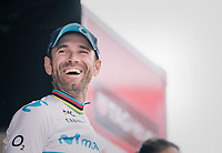 a smiling fresh World Champion Alejandro Valverde (ESP/Movistar) on the podium as he finished 3rd<br /> <br /> 99th Milano - Torino 2018 (ITA)<br /> from Magenta to Superga: 200km