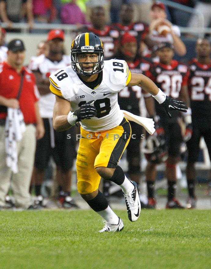 Iowa Hawkeyes Micah Hyde (18) in action during a game against the Northern Illinois Huskies  on September 1, 2012 at Huskie Stadium in DeKalb, IL. Iowa beat Northern Illinois 18-17.
