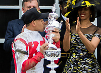 BALTIMORE, MD - MAY 20: Cloud Computing jockey Javier Castellano kisses the trophy after winning the 142nd Preakness Stakes on Preakness Stakes Day at Pimlico Race Course on May 20, 2017 in Baltimore, Maryland.(Photo by Sue Kawczynski/Eclipse Sportswire/Getty Images)