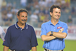 Tony DiCicco and Anson Dorrance at SAS Stadium in Cary, North Carolina on 6/18/03 during the 2003 WUSA All Star Skills Competition.