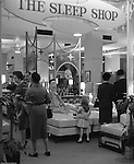Pittsburgh PA: View of in store display at Horne's department store in downtown Pittsburgh. Customers visiting the Horne's Sleep Shop during the Rhapsody of Steel campaign. US Steel launched an awareness campaign of all the current uses of steel in everyday products.  During this time, ALCOA Aluminum Company of America also headquartered in Pittsburgh, was aggressively competing to enter markets where US  steel companies traditional dominated market share. Examples included beer and food Cans, appliances, automobile parts, children toys / bicycles, and more.