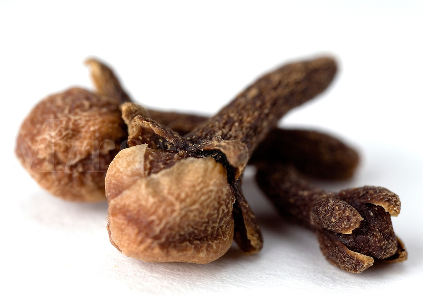 Macro close-up of a  whole cloves on a white backdrop