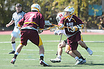 Orange, CA 05/02/10 - Ben Petraglia (Chapman # 44), Tyler Westfall (ASU # 7) and Eric Nelson (ASU # 13) in action during the Chapman-Arizona State MCLA SLC Division I final at Wilson Field on Chapman University's campus.  Arizona State defeated Chapman 13-12 in overtime.