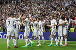 Carlos Henrique Casemiro,Cristiano Ronaldo,  Karim Benzema, Garet Bale, Marcelo Vieira  of Real Madrid celebrates after scoring a goal during the match of La Liga between Real Madrid and Futbol Club Barcelona at Santiago Bernabeu Stadium  in Madrid, Spain. April 23, 2017. (ALTERPHOTOS)
