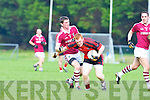 Dromid Niall O'Shea and Glenbeigh/Glencar Pa Kilkenny in action during their Junior championship semi final clash in Killorglin on Sunday.