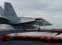 "071027-N-7981E-234 PACIFIC OCEAN (October 27, 2007)- An F/A-18E Super Hornet assigned to ""Kestrels"" Strike Fighter Squadron (VFA) 137 launches from one of Nimitz-class aircraft carrier USS Abraham Lincoln's steam-powered catapults during flight operations. Lincoln and embarked Carrier Air Wing (CVW) 2 are underway off the coast of Southern Calif. participating in Composite Training Unit Exercise (COMPTUEX), an exercise aimed at enhancing the interoperability between Lincoln and its Strike Group. U.S. Navy photo by Mass Communication Specialist 3rd Class James R. Evans (RELEASED)"