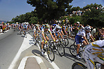 The peloton, including Bernhard Eisel (AUT) and Mark Cavendish (GBR) Team Columbia High Road, over the Col d'Ange during Stage 2 of the Tour de France 2009 running 187km from Monaco to Brignoles, France. 5th July 2009 (Photo by Eoin Clarke/NEWSFILE)