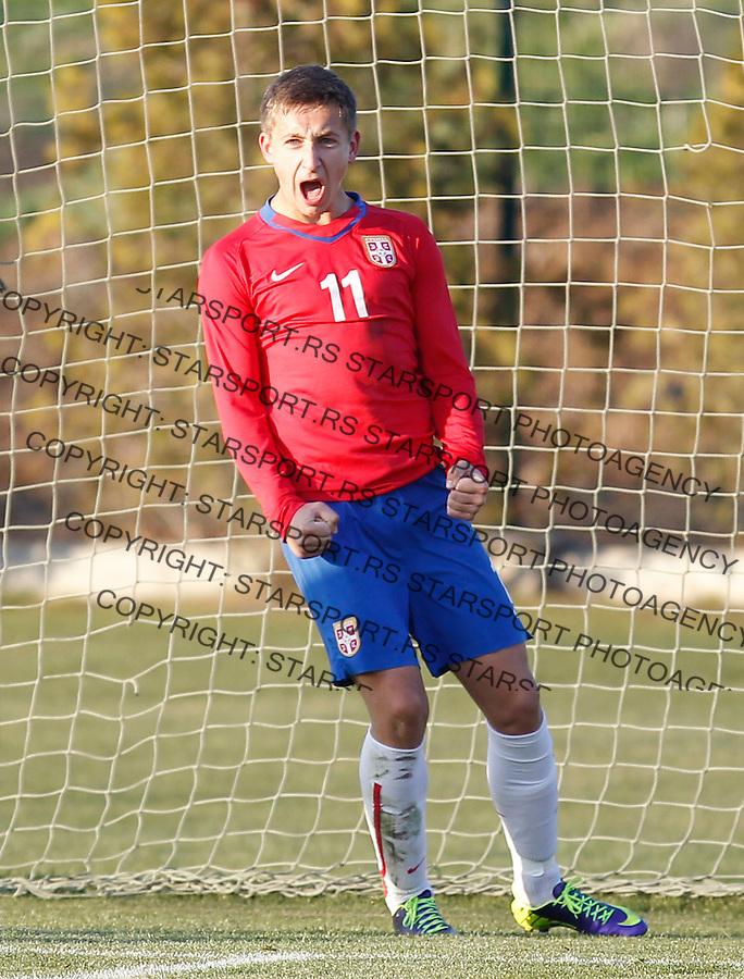 Fudbal  Reprezentacija Srbije<br /> Prijateljski mec Friendly match<br /> Srbija U17 v Croatia U17 <br /> Ivan Saponjic celebrates the goal<br /> Beograd, 11.12.2013.<br /> foto: Srdjan Stevanovic/Starsportphoto &copy;