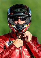 May 17, 2014; Commerce, GA, USA; NHRA pro stock motorcycle rider Matt Smith during qualifying for the Southern Nationals at Atlanta Dragway. Mandatory Credit: Mark J. Rebilas-USA TODAY Sports